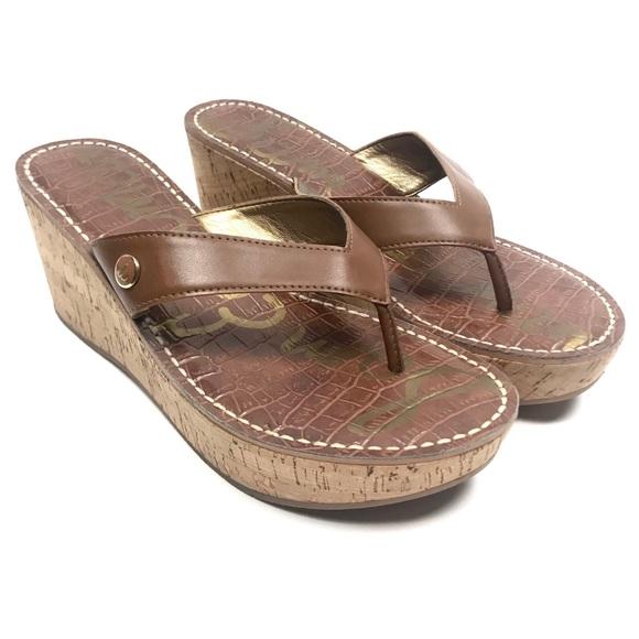 5e1a75f2bd0a Sam Edelman Romy Brown Leather Cork Wedge Sandals.  M 5bfb5678a5d7c60badba4af6
